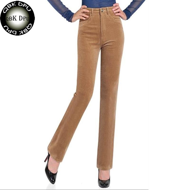 Mode Femmes de Taille Haute En Velours Côtelé Pantalon Street Wear Plus La Taille Pantalon de Maman Pour Ladoes Bureau Panrs Élastique Droite pantalon