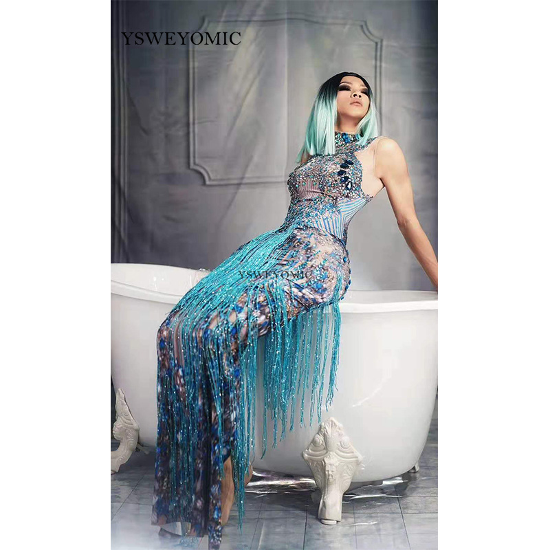 Franges bleu brillant danseur chanteur Performance gland robes fête célébrer Glisten strass Costume sans manches longue robe