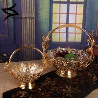European luxury glass compote fruit dish creative candy dish of modern living room dried crystal compote with cover plate