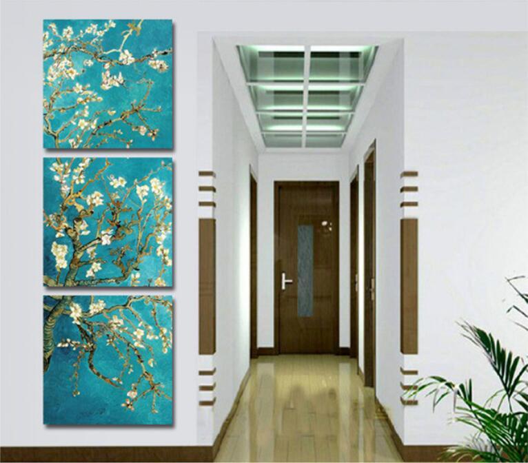 ②Decoración del hogar flores 3 unidades pintura al óleo Cuadros ...