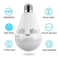 Small Wifi Camera Light Bulb Fisheye Panoramic HD 960P Cam Security System Surveillance Dome Lamp Camera for iPhone IOS Android