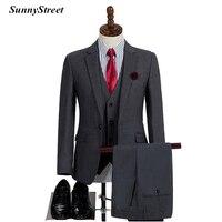 Men's Tailor Suit Formal Wedding Party High Quality Jacket Vest Pant 3 Piece set Grey Blazer