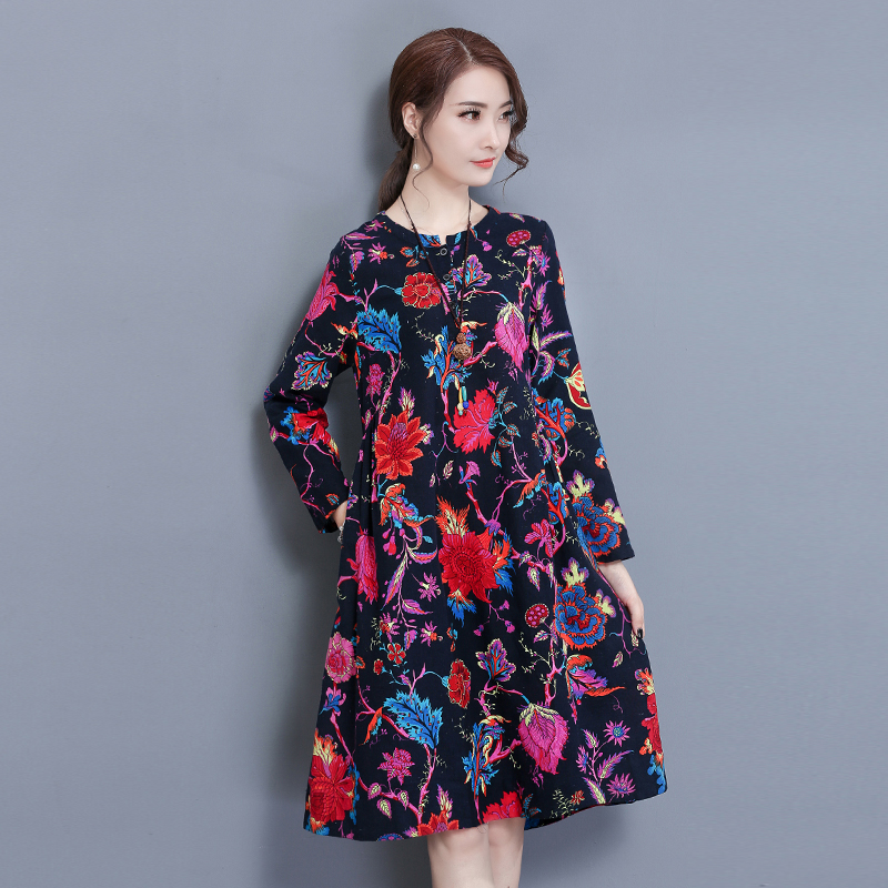 4694186c97 ... T shirt dress with pockets for women winter autumn clothes cotton linen  print floral elegant noble ...