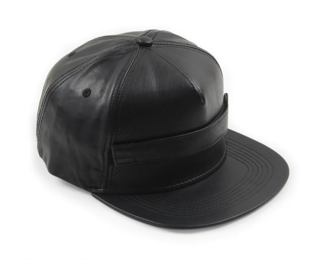European style PU leather flat brimmed snapback baseball cap no logo men  women cool black flat-brim hiphop casual sport hats d8a1ec0f36c