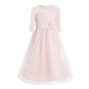 Image 3 - Girls Floral Lace Mesh Half Sleeves Flower Girl Dress A Line Tea Length Princess Pageant Birthday Wedding Party Dress SZ 4 14