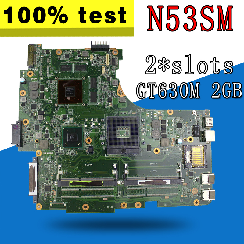 N53SM Motherboard 2*Slots GT630M For ASUS N53S N53SV N53SN N53SM laptop Motherboard N53SM Mainboard N53SM Motherboard test OK laptop motherboard n53sv n53sn for asus n53s n53sn n53sm with geforce gt550m 2g ddr3 4 ram solts rev2 0 2 2 tested ok