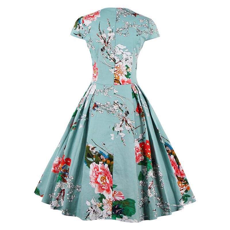 Kostlish Brand 2017 New Summer Dress Women Short Sleeve Slim 50s 60s Vintage Dress Elegant Print Swing Rockabilly Party Dresses (11)