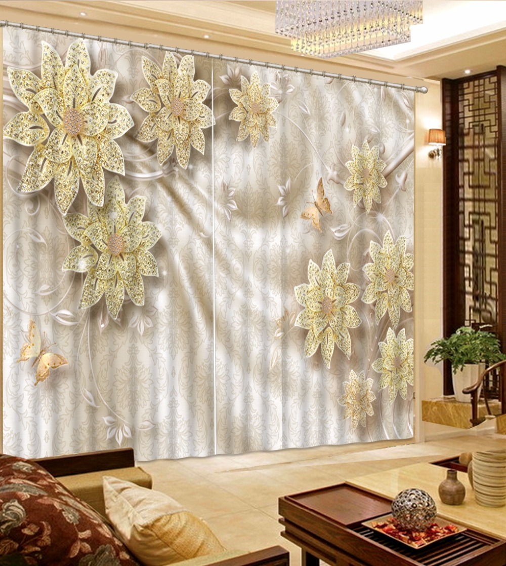 Custom 3d Window Curtains European Angel Curtains For Room