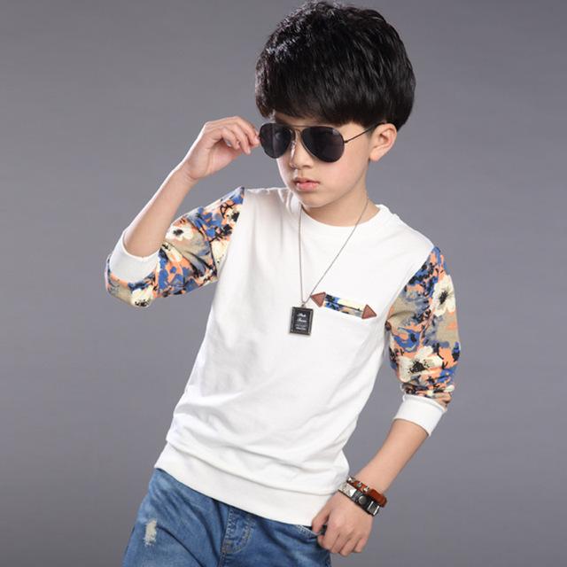2017 Novas Crianças Roupa Dos Miúdos T Roupas Camisas Do Bebê Meninos Moda Primavera Estilo de caractere T Camisas de Manga Longa 8 9 10 11 14 Anos