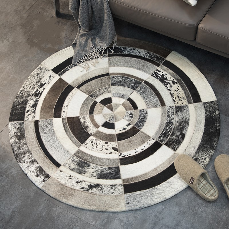 Round Shaped Natural Cowhide Seamed Patchwork Rug ,genuine