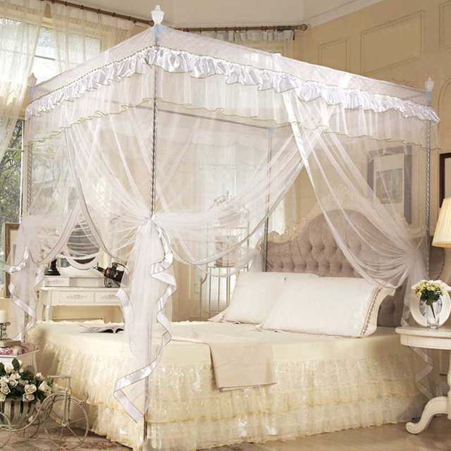 Three Door Lace Princess Mosquito Net Double Bed Curtains Sleeping Curtain Bed Canopy Net Full Queen & Online Shop Three Door Lace Princess Mosquito Net Double Bed ...
