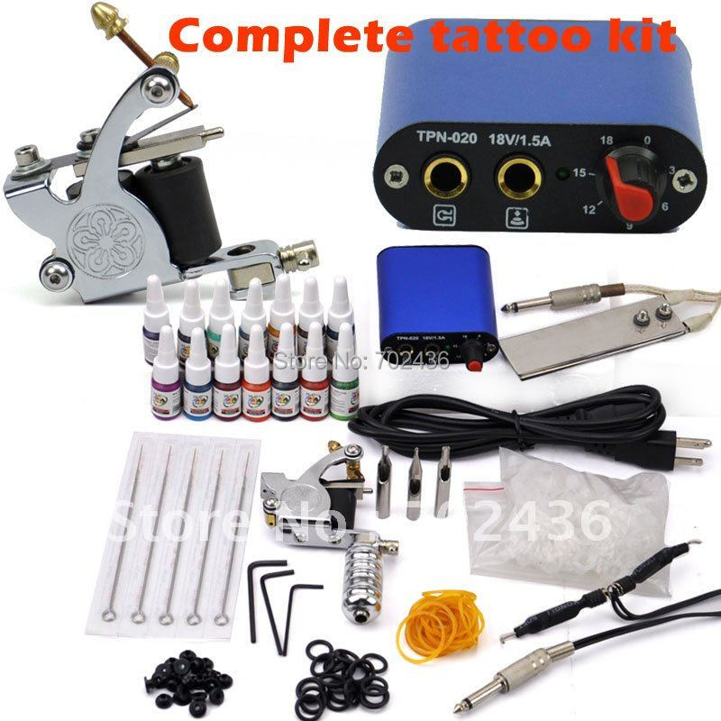 Beginner Rotary Tattoo Kit Tatoo Machine 14 Color Inks professional Tattoo gun Power Supply Power Tip Tube And Needles body art beginner tattoo kit 2 machine gun with lcd tattoo power inks supply free shippiing