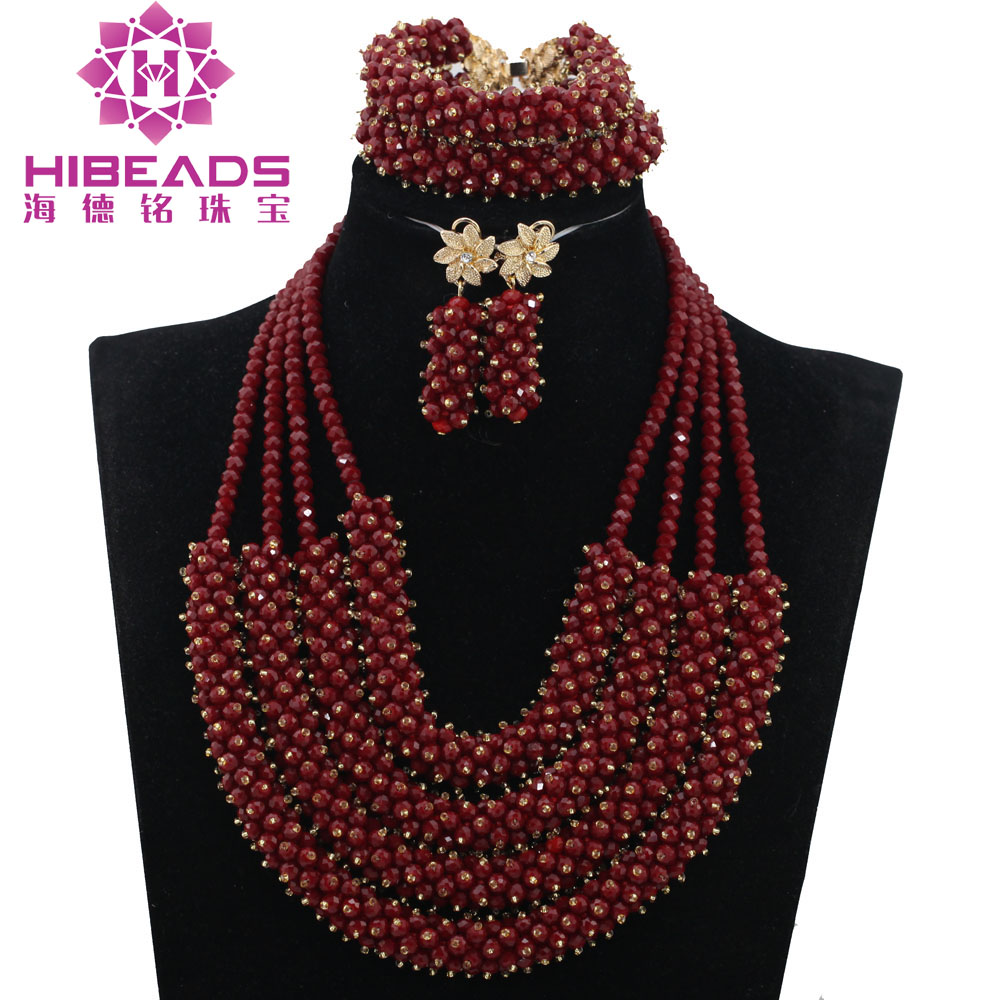 New Dark Red Crystal Pendant Chunky Statement Necklace Set Wedding African Beads Jewelry Set Party Free Shipping HEB040
