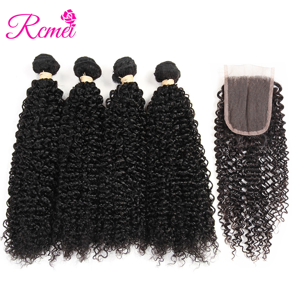 Afro Kinky Curly 4 Bundles With Swiss Lace Closure Rcmei Brazilian Human Hair Weaves Curly Skin Weft Hair Wave Remy Human Hair