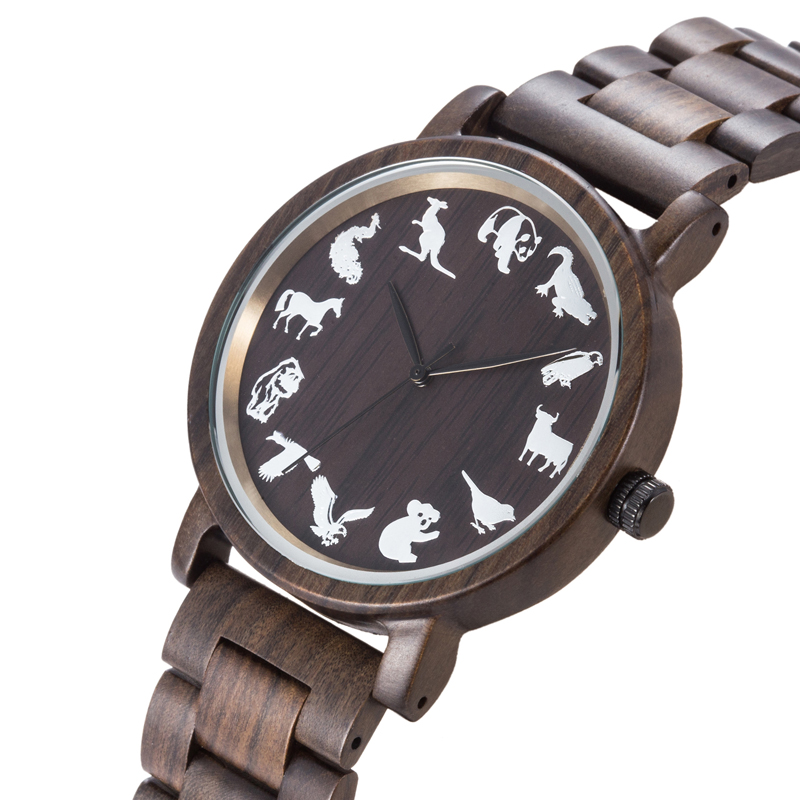 Fashion Casual Top Brand Mens Wooden Watch Animal Pattern Big Dial Wood Watches Luxury Quartz Male Wrist Watch Horloge Reliogo wooden wrist watch mens top luxury brand new natural quartz wooden verawood watches men clock wood watch with led luminous watch