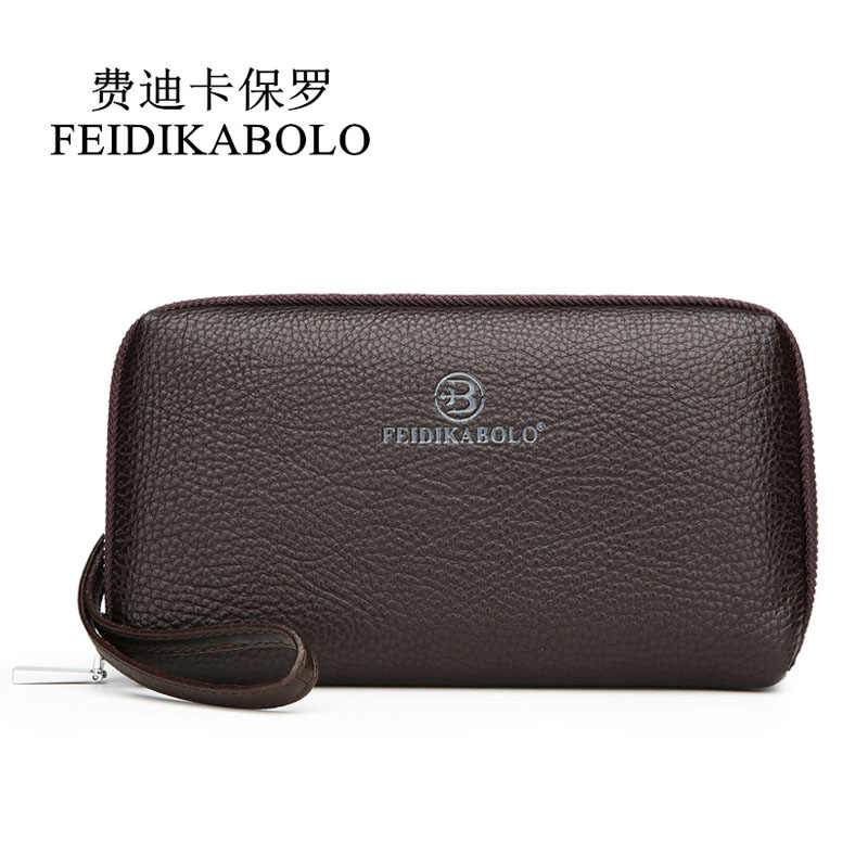 FEIDIKABOLO Luxury Designer Wallet Men Clutch Bags Male Long Wallets Men's Leather Purses Handy Bags Business Carteras Mujer Man