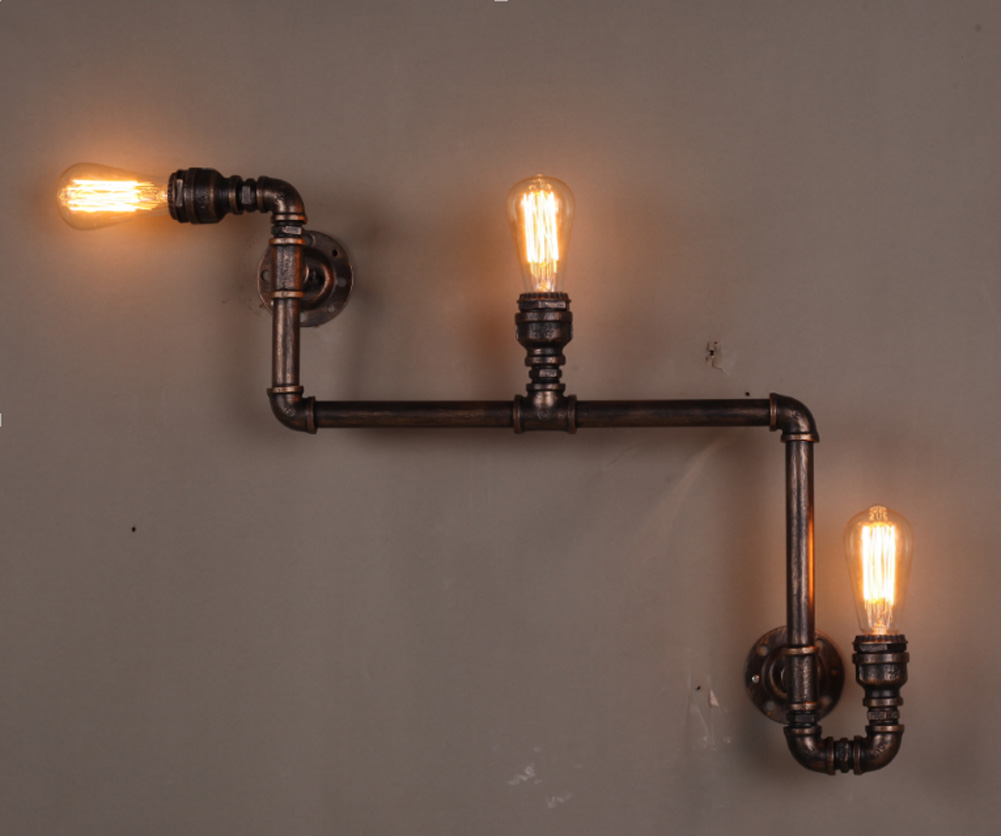 Lighting Lamp: B023 Retro Loft Industrial Edison Pipe Vintage Wall Lamp 3