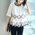 2017 Summer Casual Top Woman White Cotton Lace Blouse