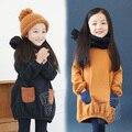 2016 Осень Зима Девушки Дети руно платье девушки с длинными рукавами платье принцессы детская одежда дети платья для девочек
