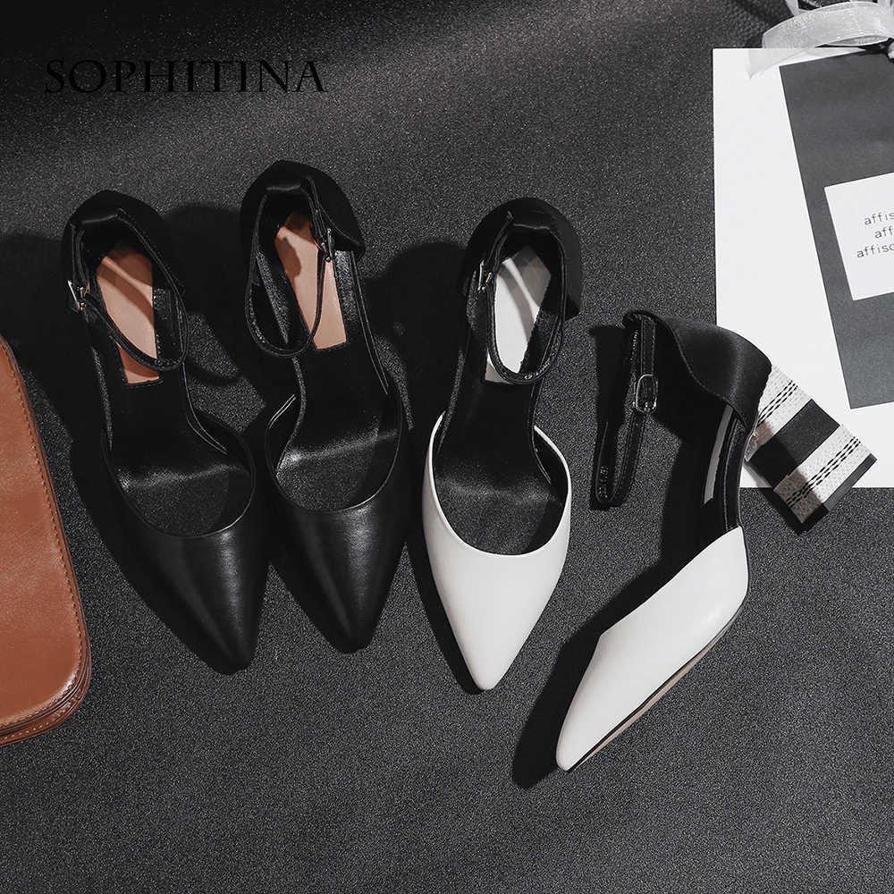 SOPHITINA נשים של המפלגה משאבות גבוהה כיכר העקב פרה עור מחודדת הבוהן אבזם רצועת קיץ נעליים בעבודת יד אופנה משאבות MO25