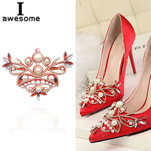 1pcs Red Bridal Wedding Party Shoes Accessories High Heels DIY Manual Rhinestone Sandals Shoe Decorations Pearl flower