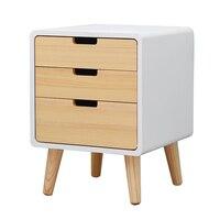 Бытовые тумбочка Современная Простой маленький деревянный шкаф Спальня хранения Forcer три ящика Многофункциональный угловой шкаф