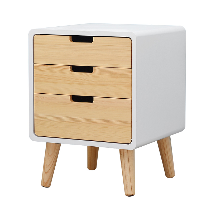 Household Bedside Table Modern Simple Small Wooden Cabinet Bedroom Storage Forcer Three Drawers Multifunction Corner Cabinet wooden dressing table makeup desk with stool oval rotation mirror 5 drawers white bedroom furniture dropshipping