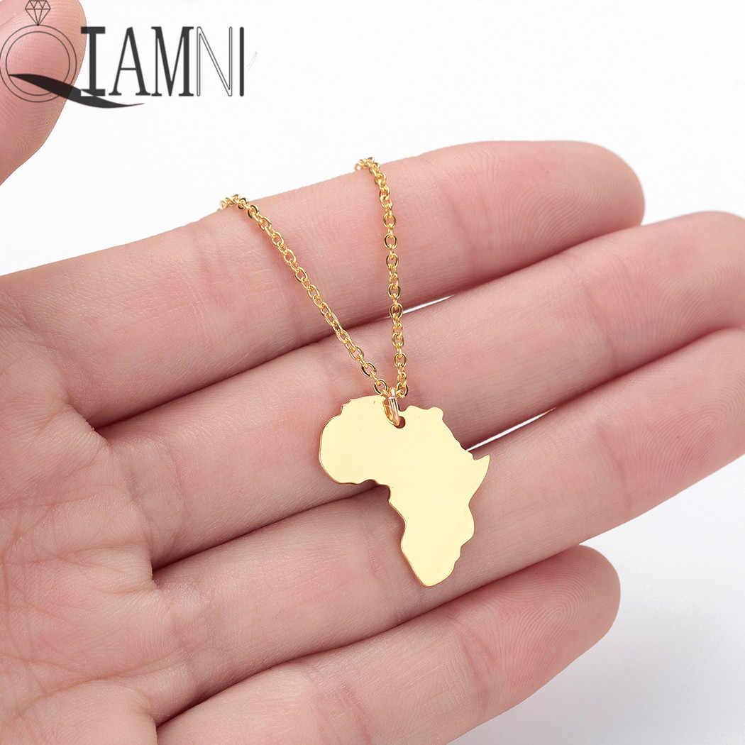 QIAMNI אפריקה מפת תליון שרשרת קולר האתיופית תכשיטי יום הולדת מתנה גיאומטרי מפת עולם העולם שרשרת אביזרי אופנה