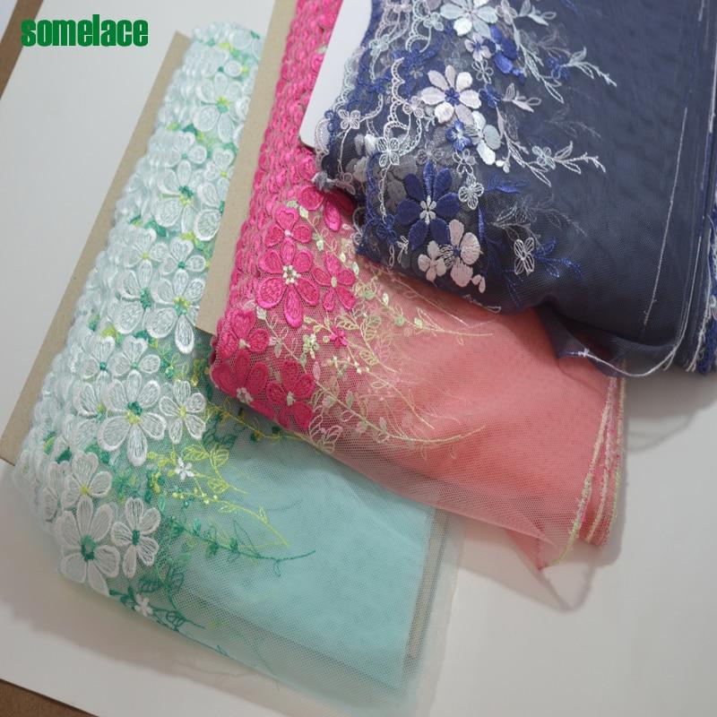 Somelace19cm geniş (2yds/lot) yeşil ~ pembe ~ koyu mavi gazlı bez çiçek nakış dantel Yüksek kaliteli dantel kumaşlar işlemeli dantel