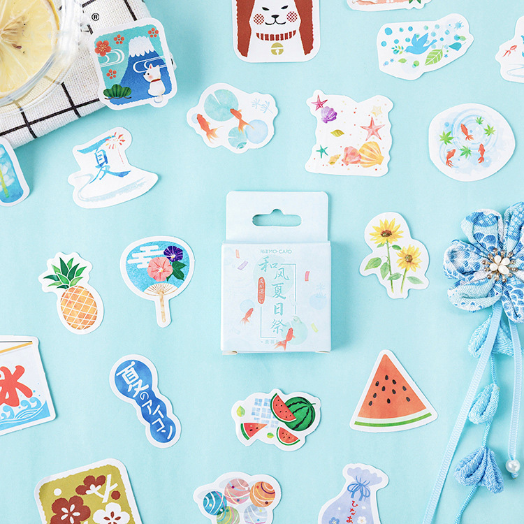 Mohamm Summer Wind Festival Cute Boxed Kawaii Stickers Planner Scrapbooking Stationery Japanese Diary Stickers image