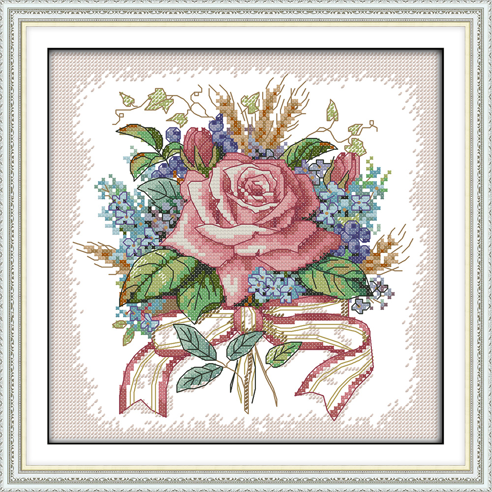 A Bunch Of Flowers Cross Stitch Kit Dmc Color Thread 14ct 11ct