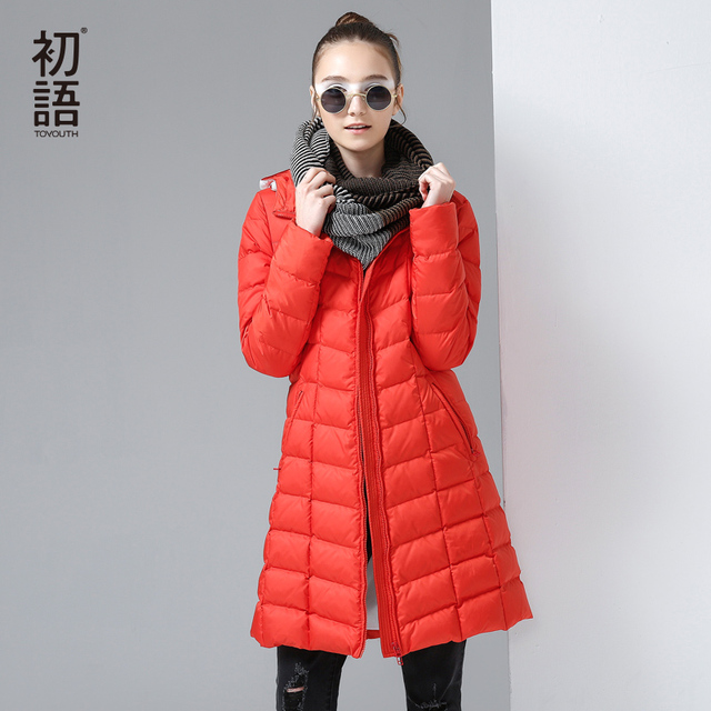 Toyouth Autumn& Winter New Down Coats Women Long Style Down Parkas Thicken Warm Hoodies Slim Coats