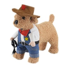 Gomaomi Pet Dog Cat Costume Cowboy Jeans Hoodie Shirts Halloween Costume Jumpsuit Puppy Clothes Funny Coat