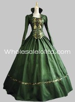 New Green Cotton & Brocade Gothic Victorian Gown Period Dress Theatre Clothing/southern belle costume victorian dress costume