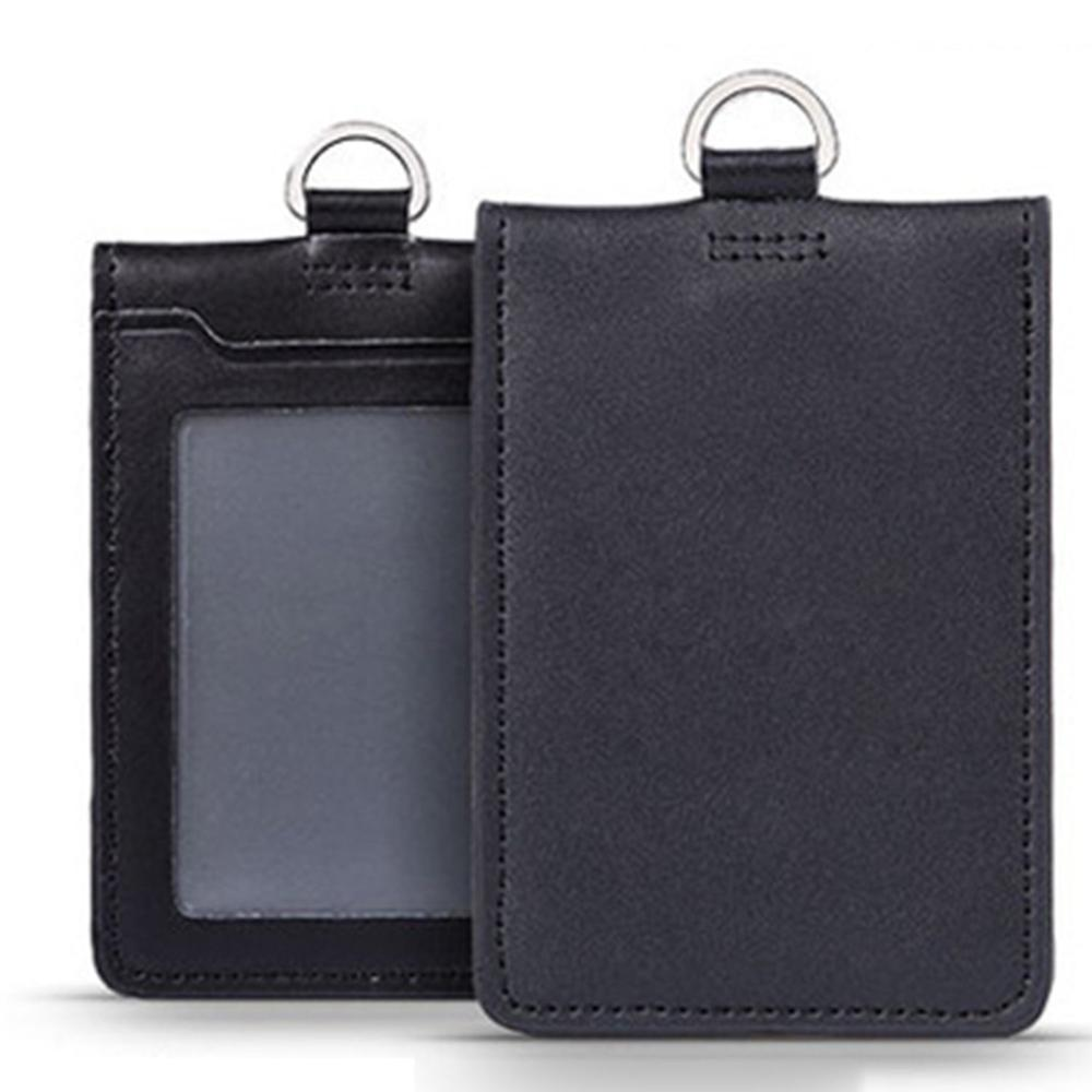 Card & ID Holder No Logo Double Layer Genuine Leather Badge Case Black Two Decks For Pilot Aviator Airmen Flight Crew