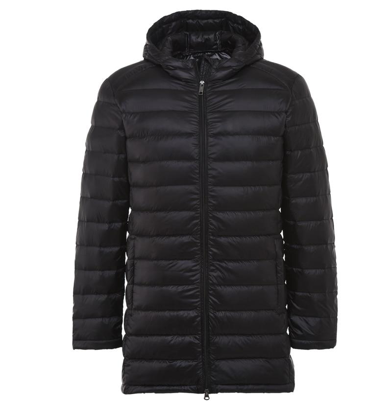 2017 Для мужчин длинные Jackt осенне-зимнее пальто утка Подпушка пальто с капюшоном ультра легкий Пуховики и парки для мужчин одноцветное Цвет ветровка на молнии