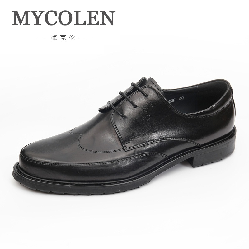 MYCOLEN 2019 New Men Shoes Leather Brand Designer Italian Black Brown Casual Shoes Lace-Up Men Shoes Sapatos Masculinos