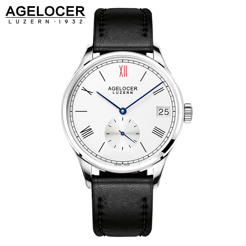 AGELOCER Watch Men Role Watches Men's Watch Luxury Famous Brand Real Leather Strap Minute Small Dial Male Mechanical watch Clock agelocer designer watch male real leather watch strap black dial quartz movement wristwatches analog clock auto datemontre homme