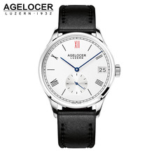 AGELOCER Watch Men Role Watches Men's Watch Luxury Famous Brand Real Leather Strap Minute Small Dial Male Mechanical watch Clock