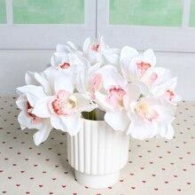 6 Κεφαλές Real Touch Cymbidium Σύντομη Τραπέζι Διακόσμηση Πίνακας Τεχνητή Ορχιδέα Λουλούδι DIY Γάμος Νύφη Χέρι Λουλούδια Διακόσμηση P0.16