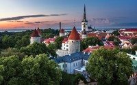 Home Decoration Estonia City Of Tallinn Summer August Evening Home Silk Fabric Poster Print XY026
