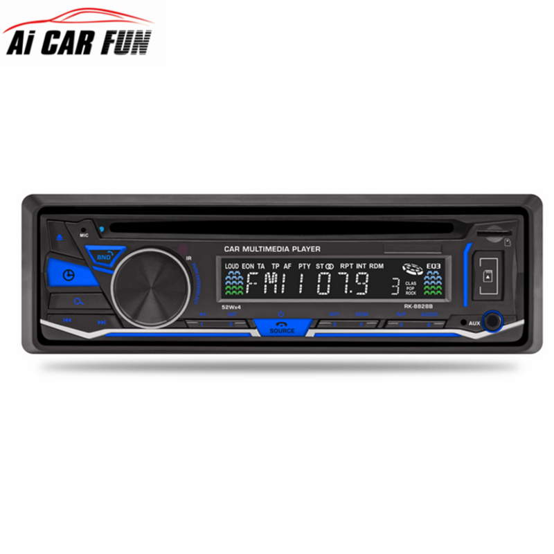 1 DIN Car Stereo 12V FM Aux Input Car Stereo Radio Audio Player Receiver CD DVD VCD WMA MP3 Player with SD/USB Port майка женская roxy betty bee tank цвет розовый erjkt03235 mhg0 размер 40 xs
