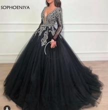 New Arrival V Neck Black muslim evening dress 2020 Full Hand Beading Ball gown evening gowns Dubai Kaftan Prom Party dress