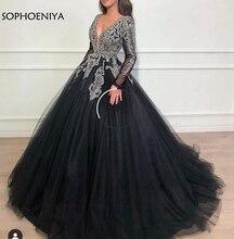 Robe de soirée noire musulmane, col en V, robe complète de bal, Kaftan, dubaï, nouveauté, 2020