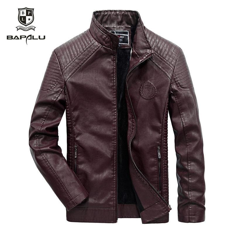 leather font b jacket b font men casual leather font b jacket b font font b