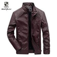 Кожаная куртка мужская повседневная кожаная куртка Мужская Slim fit тонкая секция Стенд воротник мотоциклетная куртка плюс бархатная теплая куртка пальто