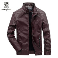 leather jacket men casual leather jacket men's Slim fit thin section stand collar motorcycle jacket plus velvet warm jacket Coat