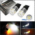 2pcs Color Switchable Xenon White/Amber Yellow CRE'E High Power 7440 W21W T20 LED Bulbs For Daytime Running Light/DRL