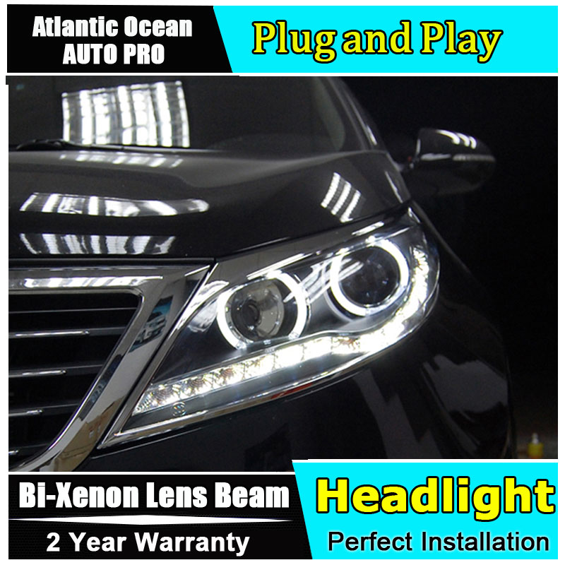 Новый автомобиль укладка для Sportage R фары 2011 2015 для Sportage светодиодный фар линзы двойной луч H7 ксеноновый комплект HID би ксенон объектива