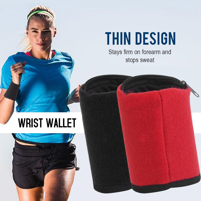 Home Candid Wrist Wallet Pocket Running Cycling Wristband Coin Keys Storage Bag Zipper Fitness Band Sport Wrist Support Wrap Hiking Highly Polished